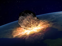 <p>It is believed that dinosaur extinction was part of a mass extinction brought about by two massive destructive events. The first of these was the collision with the Earth of a meteorite landing in what is now the Yucatan Peninsula, of Mexico. This was followed by an enormous volcanic eruption which split what is now India in half.</p>
